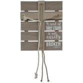 Ecclesiastes 4:12 Braided Rope Cross Wood Decor