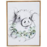 Pig & Eucalyptus Metal Wall Decor