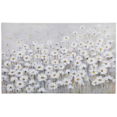 White Wildflowers Canvas Wall Decor