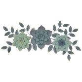 Green Succulent Flowers Metal Wall Decor