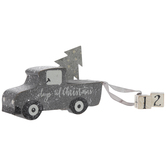 Silver Glitter Christmas Truck With Countdown Blocks Wood Decor