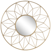 Gold Geometric Wire Frame Metal Wall Mirror