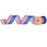 "Stars & Stripes Wired Edge Satin Ribbon - 2 1/2"""