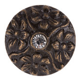 Antique Bronze Floral Metal Knob With Rhinestone