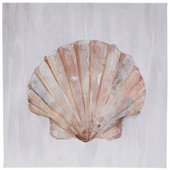 Blush Watercolor Shell Canvas Wall Decor