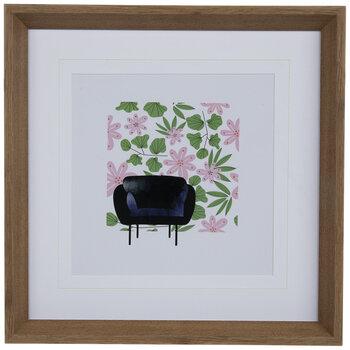 Purple Chair & Flowers Framed Wood Wall Decor
