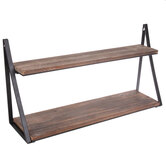 Brown & Black Two-Tiered Wood Wall Shelf