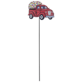 Red Truck With Flowers Metal Garden Pick