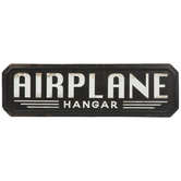 Airplane Hangar Distressed Metal Sign