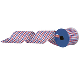 """Red, White & Blue Plaid Wired Edge Ribbon - 2 1/2"""""""