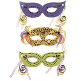 Mardi Gras Masks 3D Stickers