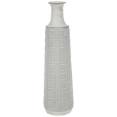 Embossed Rectangles Metal Vase