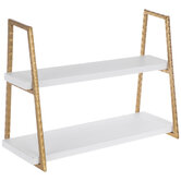 White & Gold Two-Tiered Wood Wall Shelf