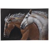Brown & White Horses Metal Wall Decor