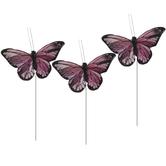 Burgundy Feather Butterflies