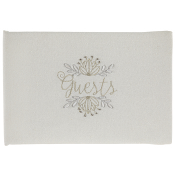 Guests Embroidered Canvas Guest Book
