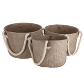 Sea Grass & Rope Handled Tote Bag Set