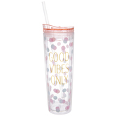 Pink & Blue Polka Dots Good Vibes Only Cup
