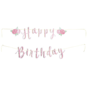 Happy Birthday Floral Banner