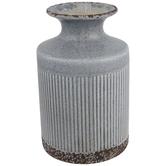Gray Ribbed Vase With Narrow Neck