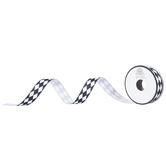 """Black & White Harlequin Grosgrain Ribbon - 5/8"""""""