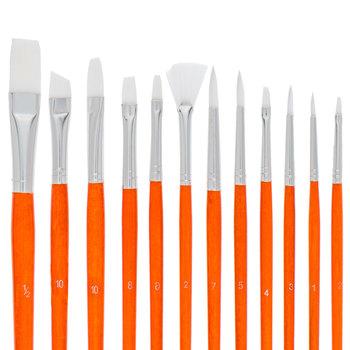 White Taklon Paint Brushes - 12 Piece Set