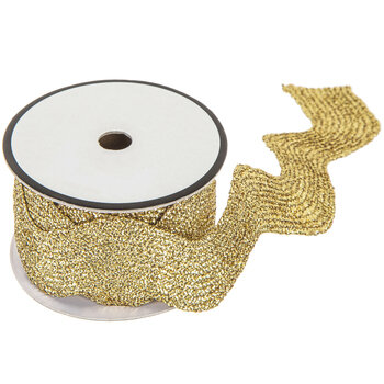 "Gold Metallic Rick Rack Trim - 1 9/16"""