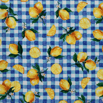 Lemon Gingham Duck Cloth Fabric