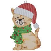 Orange Cat In Santa Hat Ornament