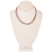 Two-Tone Brown Leatherette Cord Necklace - 16""