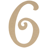 """Curly-Q Wood Number 6 - 8"""""""