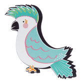 Teal Parrot Painted Wood Shape