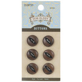 Brown Cat Eye Round Wood Buttons - 14mm