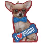 I Love The USA Dog Ornament