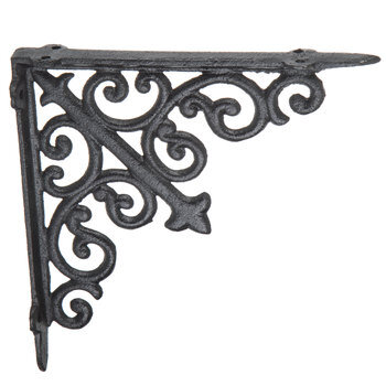Black Scroll Metal Bracket - 8""