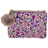Rose Sequin Zipper Pouch With Pom Pom