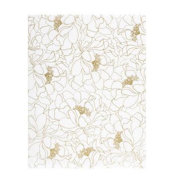 "Gold Floral Outlines Vellum Paper - 8 1/2"" x 11"""