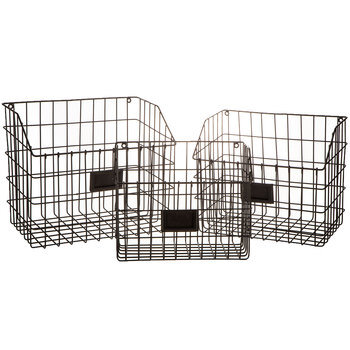 Black Metal Wall Basket Set