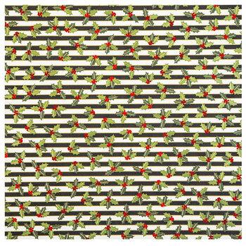"""Holly Striped Foil Scrapbook Paper - 12"""" x 12"""""""