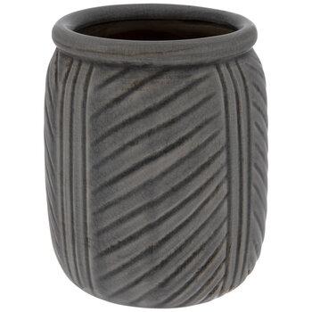 Gray Crackled Diagonal Striped Pot