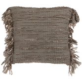 Metallic Gray Woven Fringe Pillow