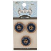 Navy Wood Grain Buttons - 21mm