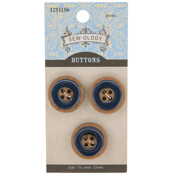 Navy Wood Grain Buttons - 21mm