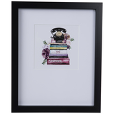 Rotary Phone On Books Framed Wall Decor