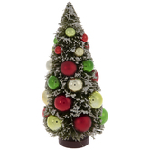Flocked Bottle Brush Tree With Ornaments - Small