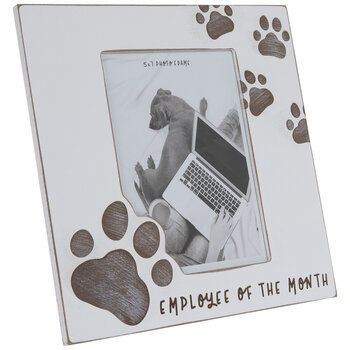 """Pawprint Employee Of The Month Wood Frame - 5"""" x 7"""""""