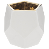 White & Gold Geometric Candle Holder