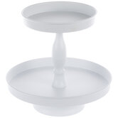 White Two-Tiered Metal Tray
