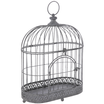 Distressed Gray Oval Metal Bird Cage