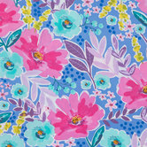 Blue & Pink Floral Cotton Fabric